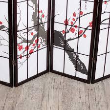 shoji room divider cherry blossom rosewood 4 panel room divider walmart com