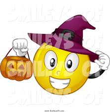 vector clipart of a halloween witch smiley holding a pumpkin