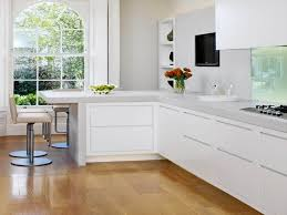 White Floor L L Shaped Kitchen Designs With Breakfast Bar And Kitchen Paint