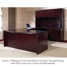 U Shape Desk Shape Desk Suite W Hutch 72x107 Mahogany Or Light Cherry