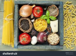 Spices Mediterranean Kitchen Uncooked Pasta Spices Wooden Tray Mediterranean Stock Photo