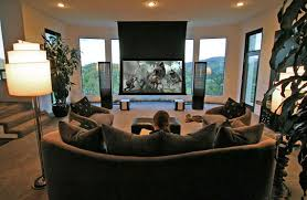 Living Room Theater Home Design Ideas - Living room home theater design
