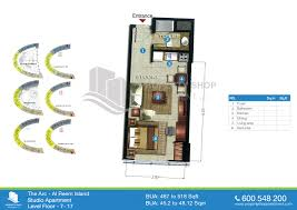Studio Plan by Floor Plans Of The Arc Tower Al Reem Island