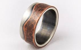 copper engagement ring rustic engagement ring mens wedding ring silver and