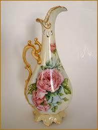 p h leonard antique bavaria porcelain hand painted pink roses vase