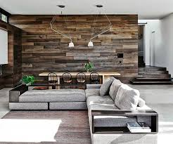 modern wood wall cococozy modern open floor plan mixing surfaces reclaimed wood