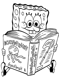 reading spongebob coloring coloring pages