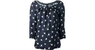 bird blouse lyst ricci bird print blouse in white