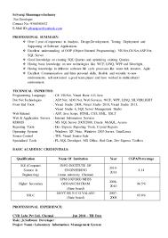 Asp Net Resume Sample Dot Net Resume Virtren Com