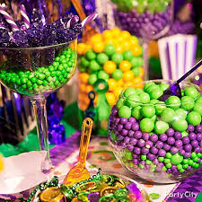 mardi gras candy candy as colorful as carnival set up a candy buffet of green