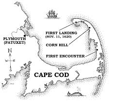 map of cape cod and places relevant to the mayflower landing in