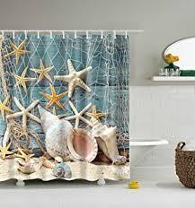 Sea Themed Shower Curtains Seashell Shower Curtain Hooks Bathroom Shell
