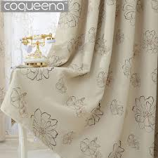 Kitchen Window Curtain Panels by Beige Cream Floral Blackout Curtains For Living Room Bedroom