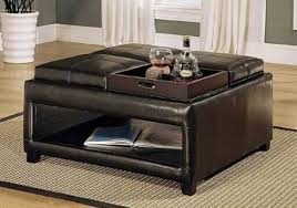 Leather Storage Ottoman Coffee Table Storage Ottoman Tray Table Editeestrela Design