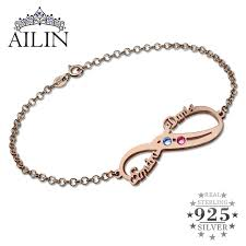friendship bracelet with name images Personalized infinity birthstone bracelet rose gold color double jpg
