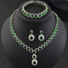 emerald green fashion necklace images New design luxury aaa cubic zirconia emerald green party wedding jpg