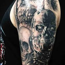 skull arm sleeve red roses and grey 3d skull tattoo on right half sleeve