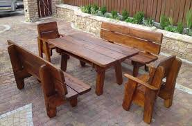 Outdoor Wooden Patio Furniture Teak Eucalyptus Wood Outdoor Furniture Torches Planters Tables