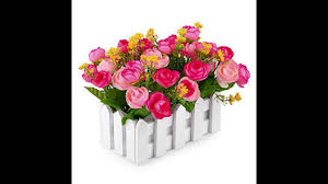 louis garden artificial flowers fake rose in picket fence pot pack