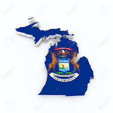 Michigans Flag Michigan State Flag Od 3d Map Stock Photo Picture And Royalty