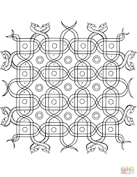 indian pattern with snakes coloring page free printable coloring