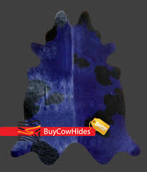 Navy Blue Rug Brazilian Cowhide Rug Dyed Holstein Navy Blue And Black Cowhide