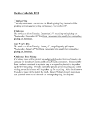 holiday schedule patriot disposal