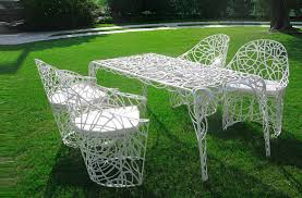 Old Fashioned Metal Outdoor Chairs by Furniture Retro Metal Patio Chairs Over Grass With Also White