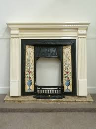 edwardian fireplace cast iron fire inset with tiles in painted