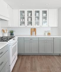 gray kitchen with white cabinets centsational remodel features white u0026 gray kitchen cabinets