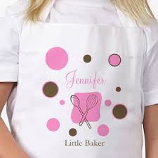 lil baker personalized apron with polka dots