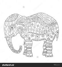 hand drawn elephant coloring page coloring book page for adults