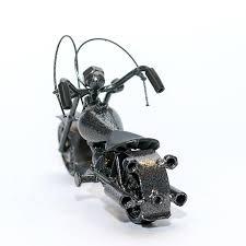 harley davidson motorcycle metal sculpture 18cm gray small m09