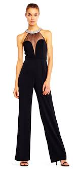 plunging jumpsuit halter crepe jumpsuit with plunging beaded illusion neckline