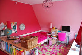 Red Floor Paint Bright Pink Paint Wall Cream Wooden Troley Bedframe Nice Flower