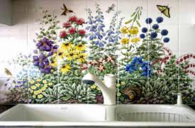 ceramic tile murals for kitchen backsplash painted tiles kitchen backsplash tile murals by