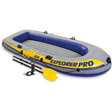 intex inflatable explorer pro 400 four person boat with oars and