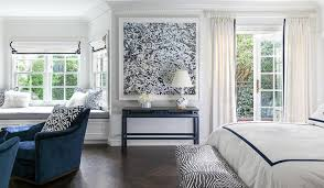 White Curtains With Blue Trim White And Navy Bedroom With Navy Chinoiserie Table Next To
