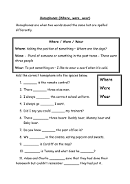 homophones worksheet where were wear and are and our