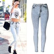 Light Blue High Waisted Jeans New Fashion Ladies High Waist Jeans Skinny Jeans Femme Tight Denim