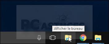 raccourci pour afficher le bureau déplacer l icône pour afficher le bureau windows 10
