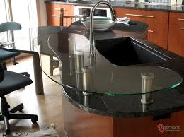 Glass Kitchen Countertops Using Standoffs In Glass Raised Countertops