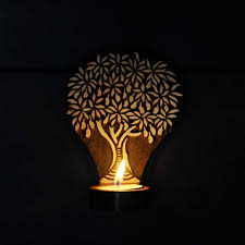 tree of life tea light candle holder wooden candle light holder