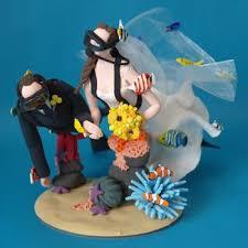 scuba diving bride and groom wedding cake topper handmade