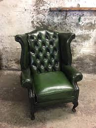Antique Queen Anne Wing Back Chairs Vintage Green Chesterfield Queen Anne Wingback Armchair In Leigh