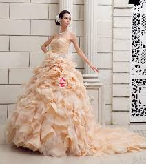 gorgeous strapless sweetheart champagne colored ruffled wedding