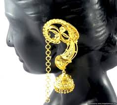 gold kaan earrings kaan jhumka jhumki earrings set gold plated beauti ethnic designer