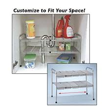 amazon com atb 2 tier expandable adjustable under sink shelf