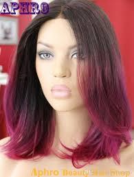 cheap black purple red ombre short haircut brazilian hair glueless
