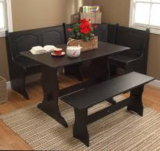 dining room black wooden corner breakfast nook set with wooden